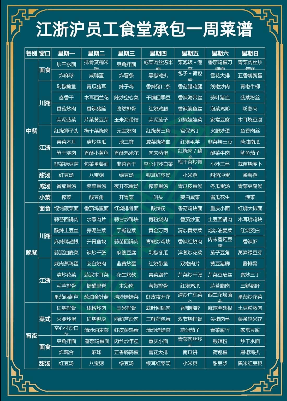 浙江(杭州、宁波、温州、台州、金华、湖州、丽水)员工食堂承包一周菜谱